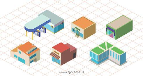 Diseño de conjunto de iconos de edificio de tienda