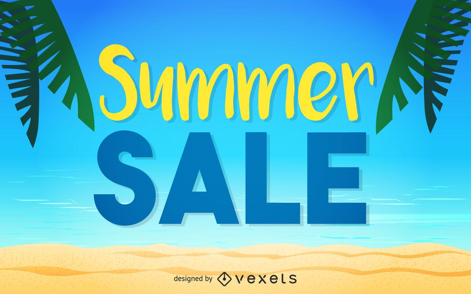 ilustración de diseño de cartel de venta de verano