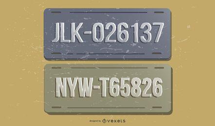 Conjunto de vetores de placas de licença vintage