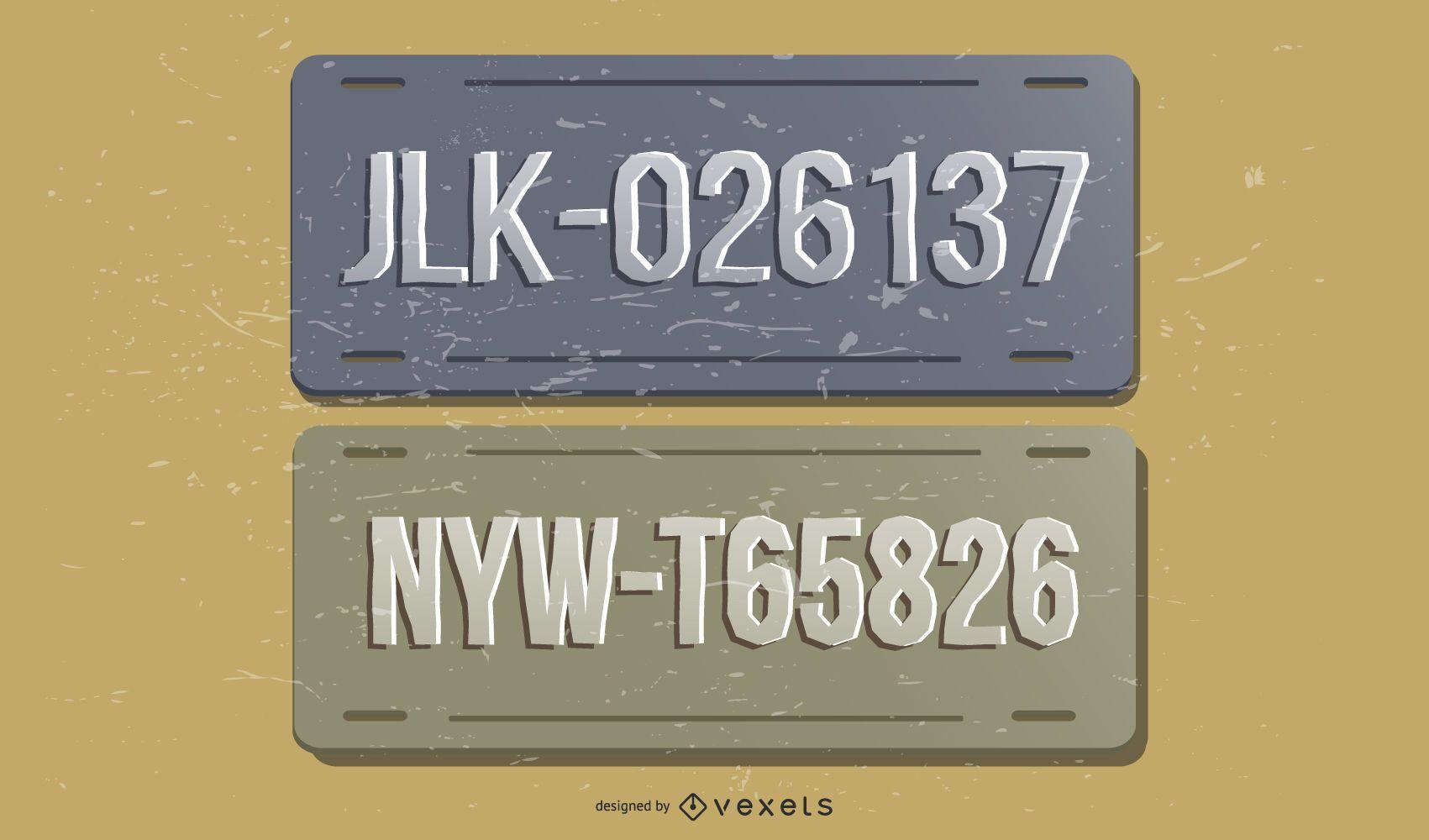 Vintage License Plates Design Set
