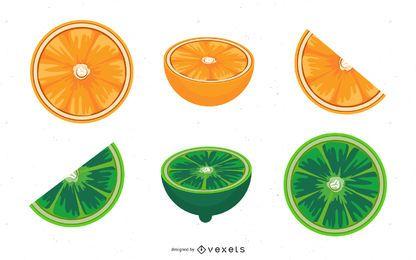 Rodajas De Lima Y Naranja