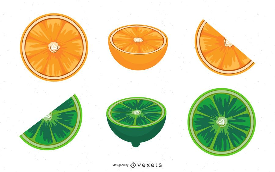 Orange And Lime Vector Set