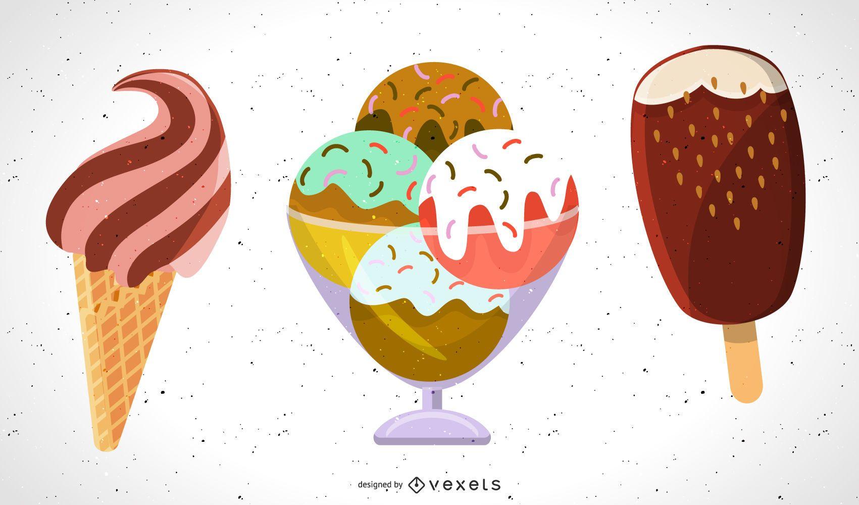 Ice Cream sprinkles illustration set