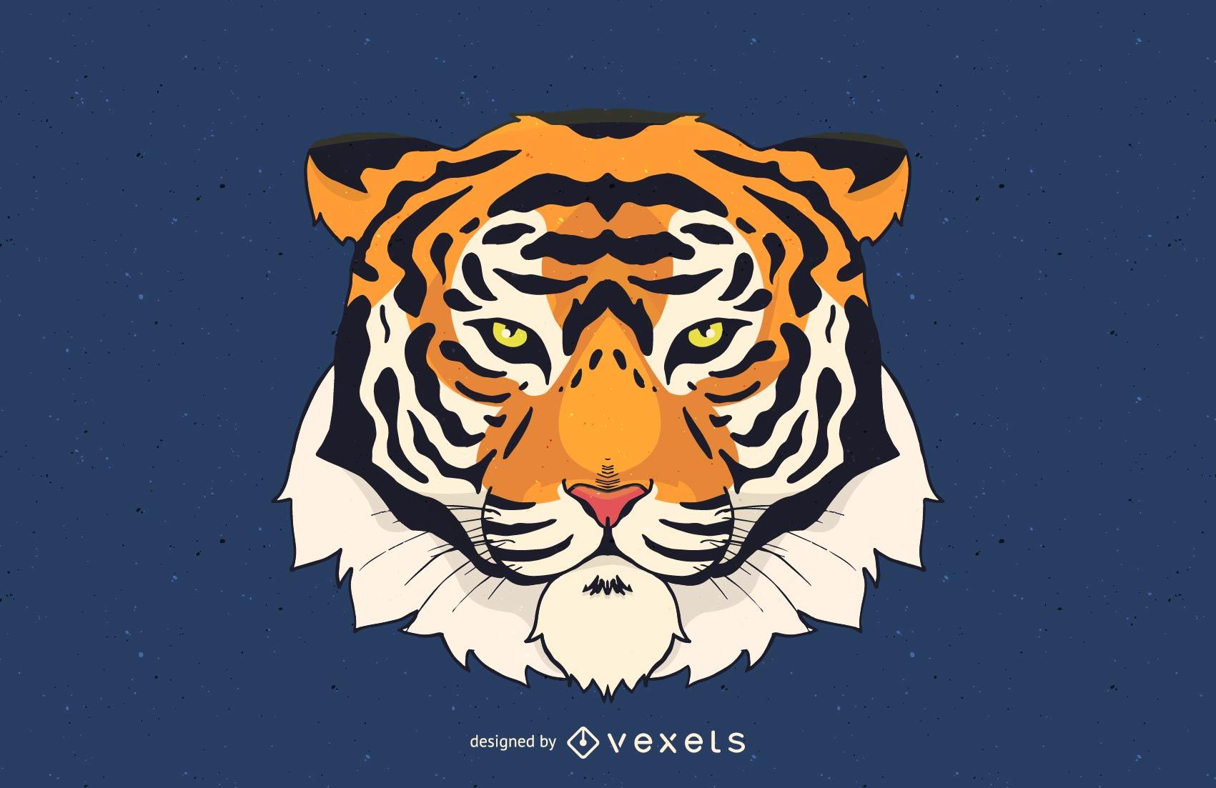 Ilustración de vector de cabeza de tigre