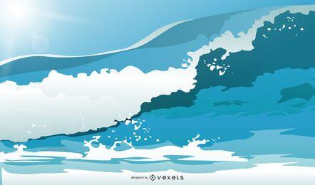 Verano playa vacaciones ilustración estilo vector 1