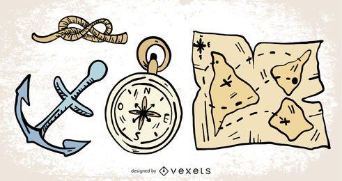 Elementos de navegación de vela dibujados a mano