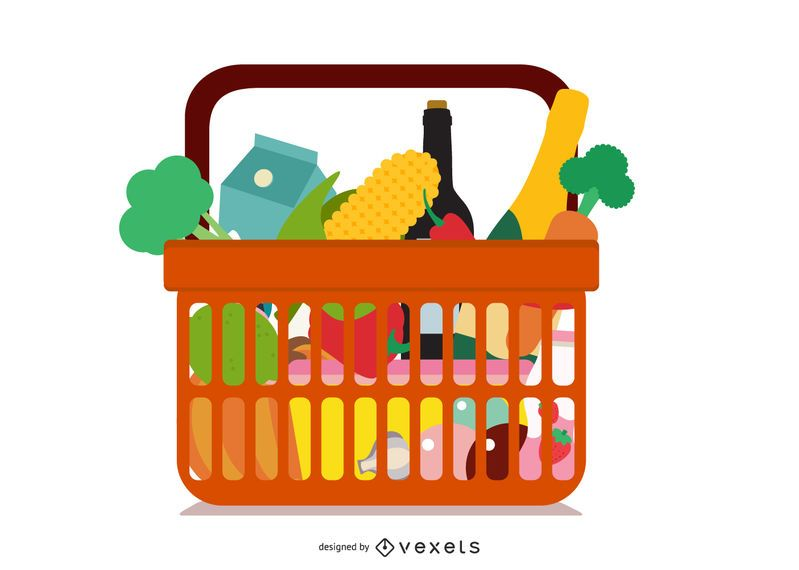 Fruits And Vegetables And Shopping Basket 03 Vector