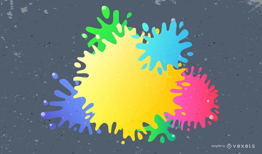 Colorful 3D paint splatters