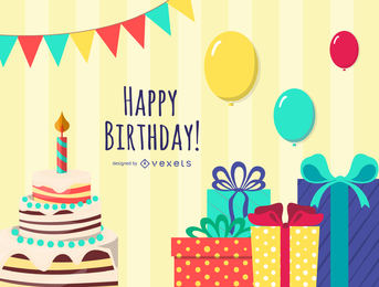 Exquisite Handpainted Elements Birthday 05 Vector