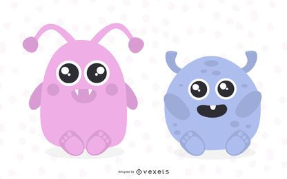 Cute monsters illustrations set