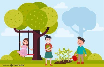 Ilustración de Vector de entorno infantil