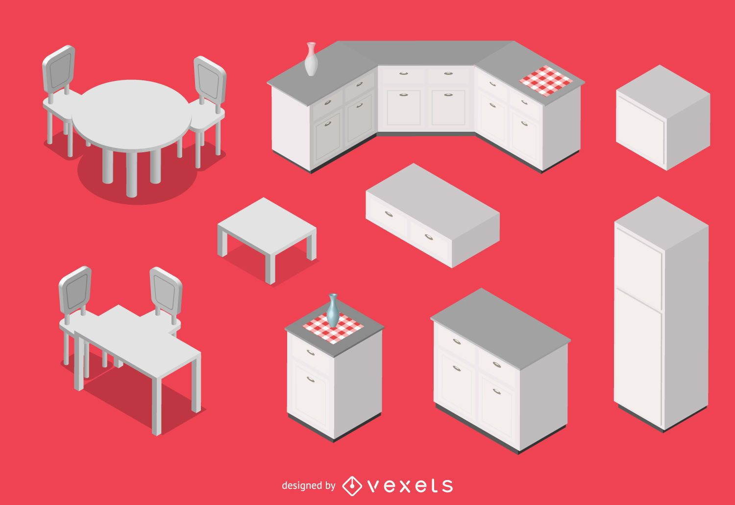 3d isometric kitchen vector download for Kitchen design vector