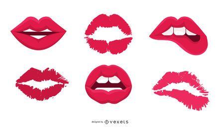 Beijo nos lábios do vetor
