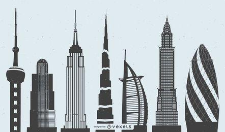 Edifícios de Highrise mundialmente famosos do vetor