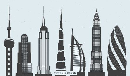 Vector weltberühmte Highrise-Gebäude