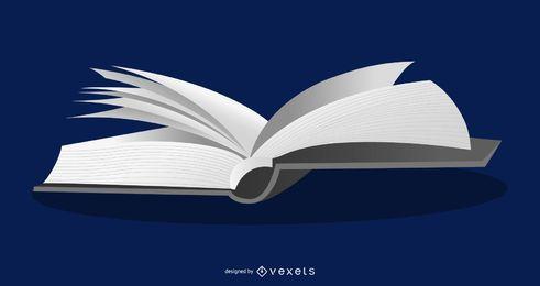 Ilustración de libro abierto en 3D