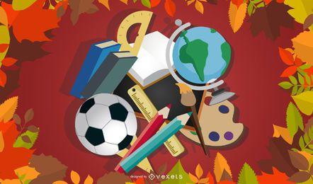 Papelaria da escola com elementos de outono