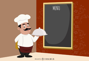 Diseño de menú con chef ilustrado.