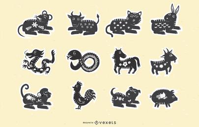 Tierkreis-Papercut-Vektor