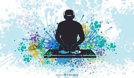 DJ-Ausrüstung und DJ-Musik-Vektor