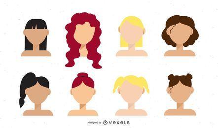 girl hairstyles illustration set