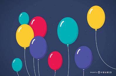 Bellamente globos de colores 03 Vector