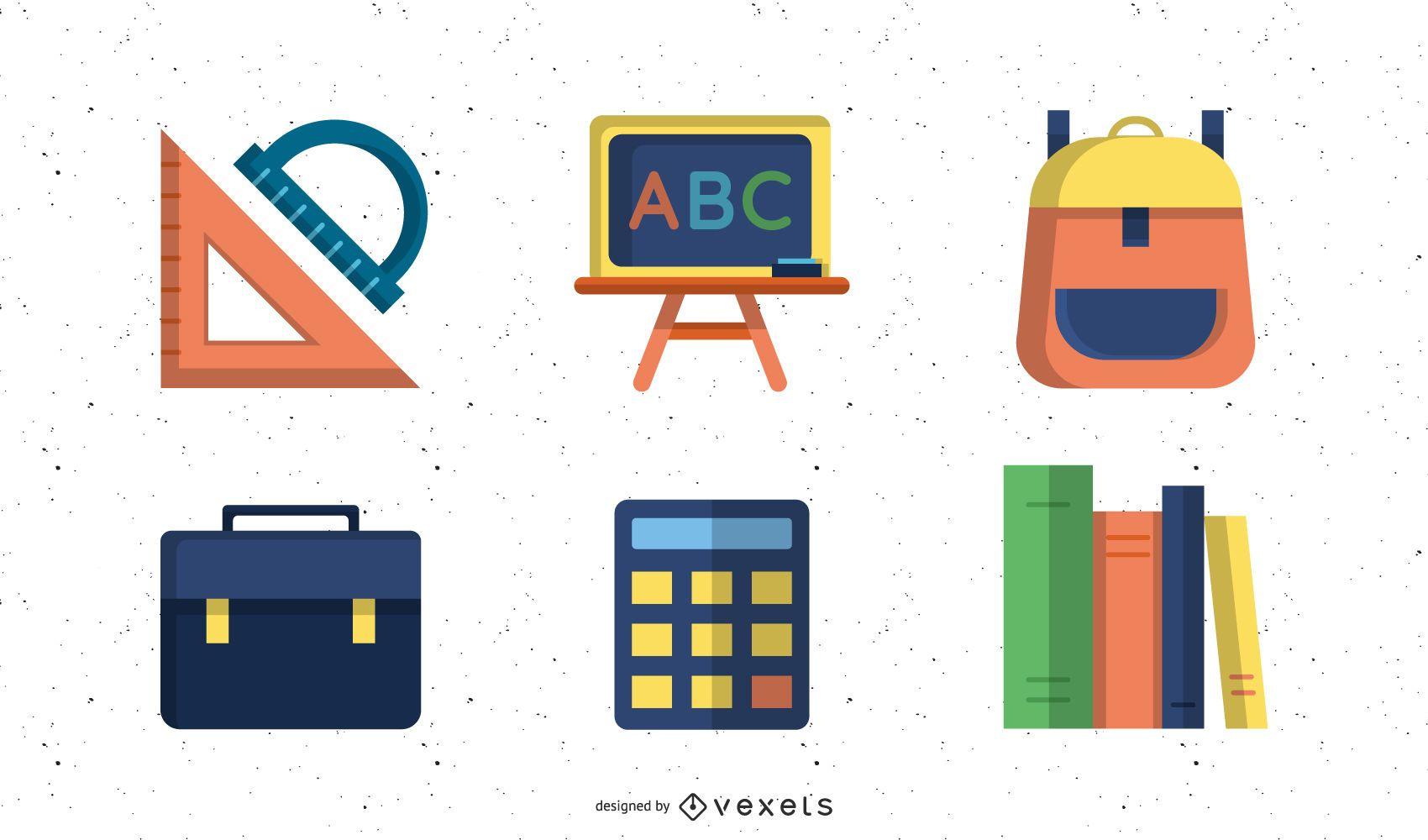 Conjunto de iconos de libros y útiles escolares