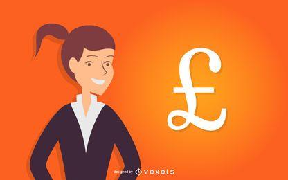 Mulher negócio, com, libra britânica