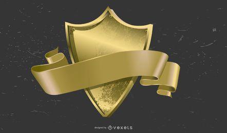 Vetor de distintivo de medalha de ouro lindo
