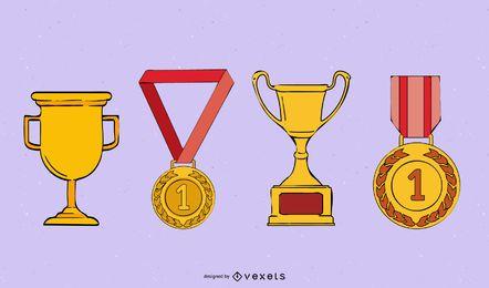 Medalla medalla trofeo de vectores