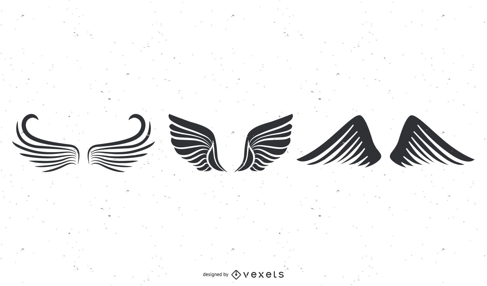 wings black illustration set