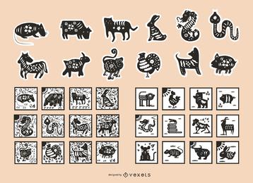 Zodiac Of Paper Cutting Vector Iv