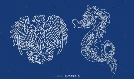 Dragón ilustrado y diseño de fénix.