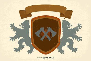 Vector de escudo de león 1