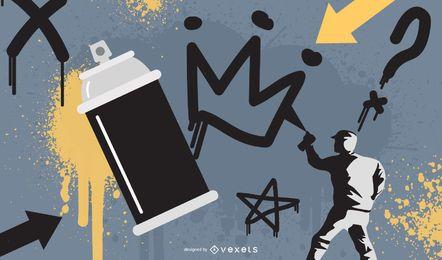Diseño de ilustración de pintura de graffiti
