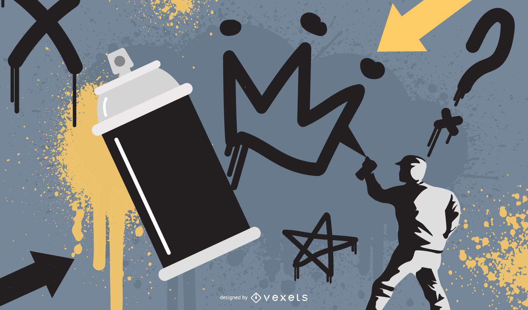 Desenho de ilustração de tinta graffiti