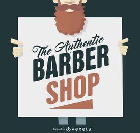 Sinal de loja de barbeiro hipster