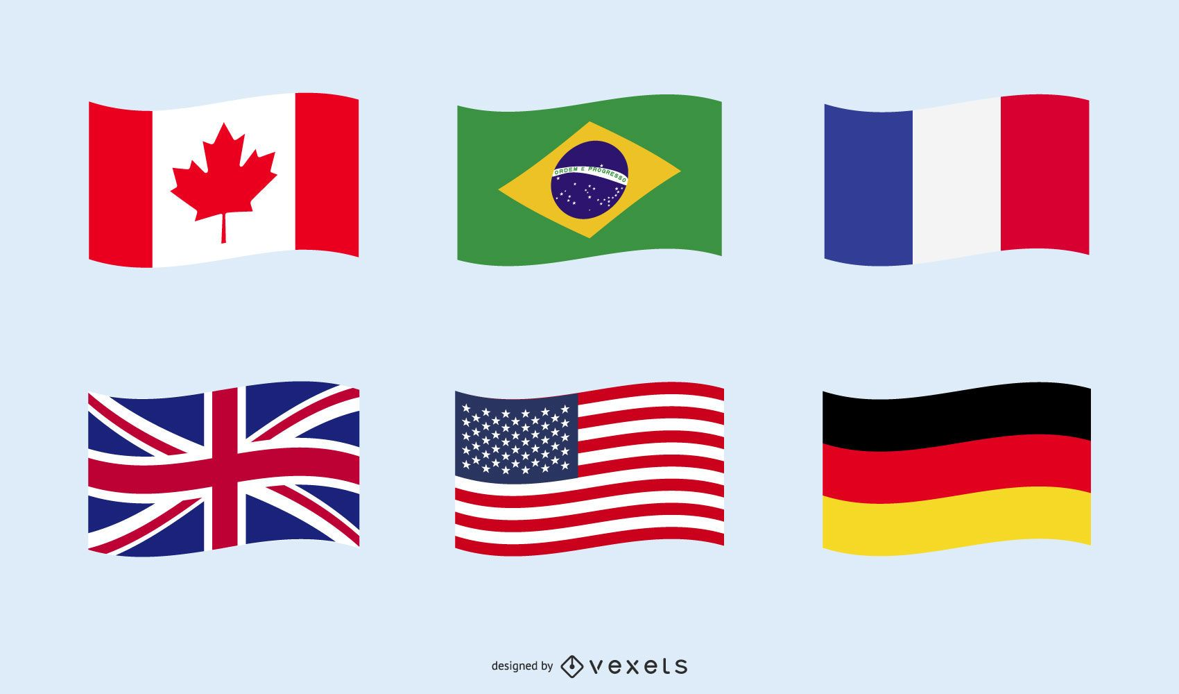 Countries national flag set