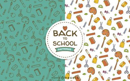 School elements seamless pattern