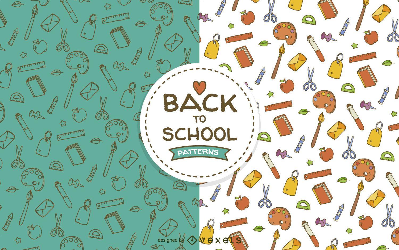 School elements seamless pattern