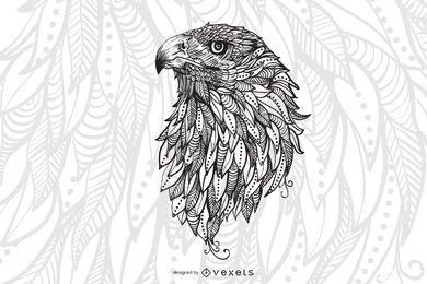 diseño de ilustración de cabeza de águila
