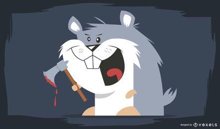 Personagem de rato sangrento