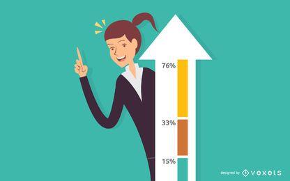 Ilustração de empresária bem sucedida