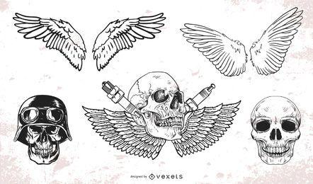 Paquete de vectores de cráneo y alas grunge