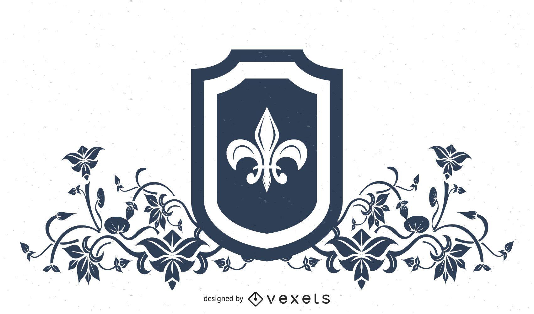 Diseño de escudo heráldico Fleur de Lis