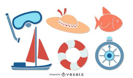 summer sailing illustration set