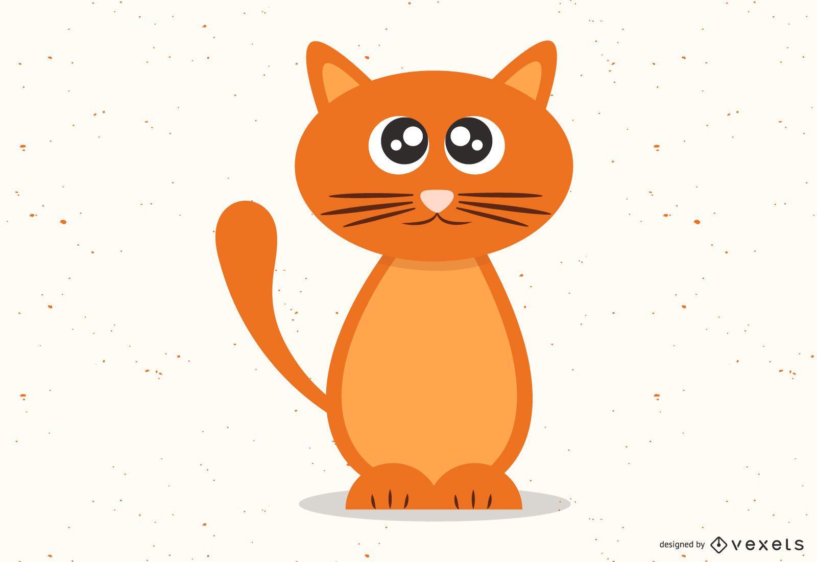 cute orange kitten illustration