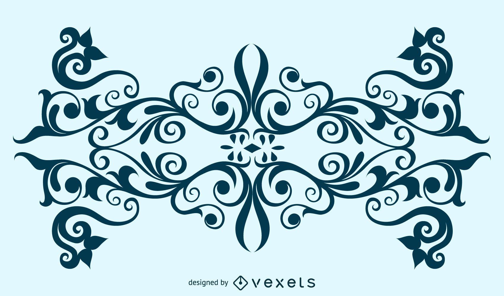 Decorative Swirly Floral Ornament Design