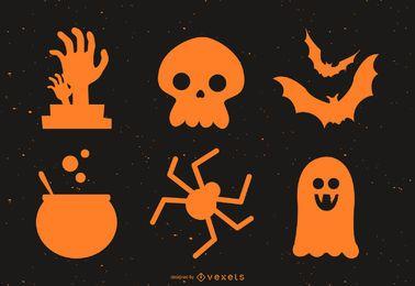Paquete de silueta plana de Halloween