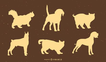 cats and dogs silhouette set